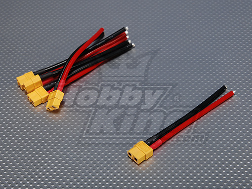 XT60 Female w/ 12AWG Silicon Wire 10cm (5pcs/bag)