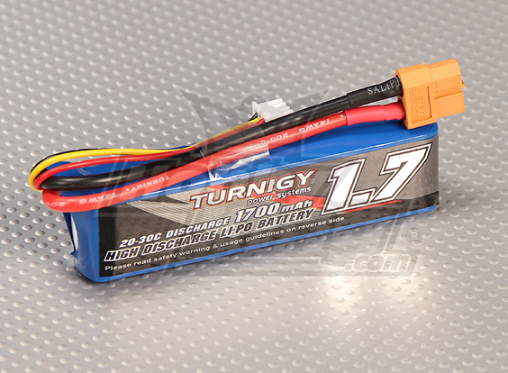 Turnigy 1700mAh 2S 20C Lipo Pack (Suits 1/16th Monster Beatle, S